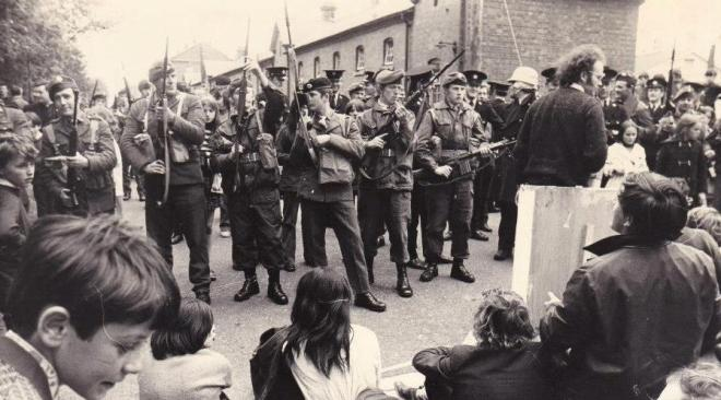 Fixed Bayonets Against Our Own - the 4th Motor Squadron based in Longford preparing to attack protesters at the Curragh Camp in Kildare in 1972