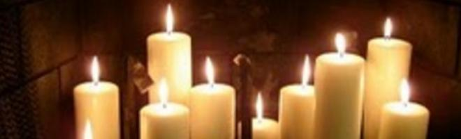 Dozen candles set un a dungpile - the first that went out said its owner would die within a year according to old Longford tradition