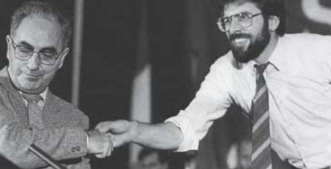 "Ruairi O Bradaigh and Gerry Adams at the 1986 Sinn Fein Ard Feis - Adams deposed Brady in 1983 for Brady talking with Unionists / Loyalists about their terms for a United Ireland. Calling it a ""sop to unionism"", the comment is remembered in popular recollection as ""orange sop"". Adams settled for less thirty years on, with no talk from Unionism about the possibility of a United Ireland at all."