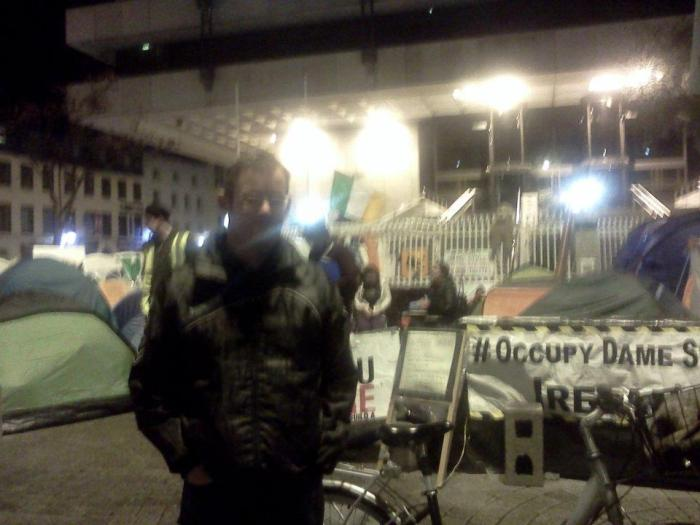 At the Occupy Dame Street protest in Dublin