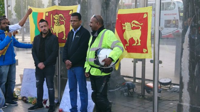 Sri Lanka folk speak at the vigil for the bombing victims in Galway