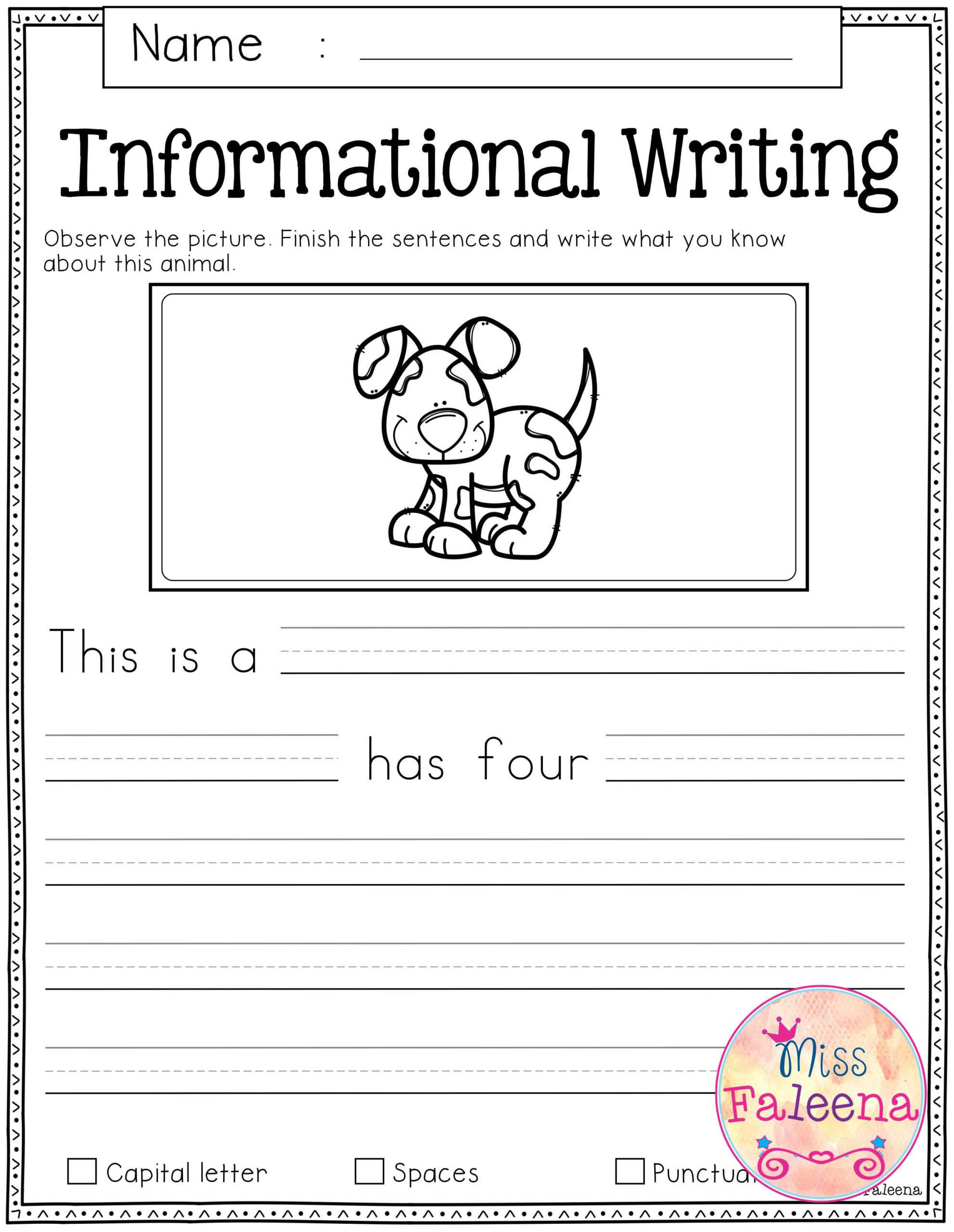 Free Writing Prompt Worksheets For 2nd Grade