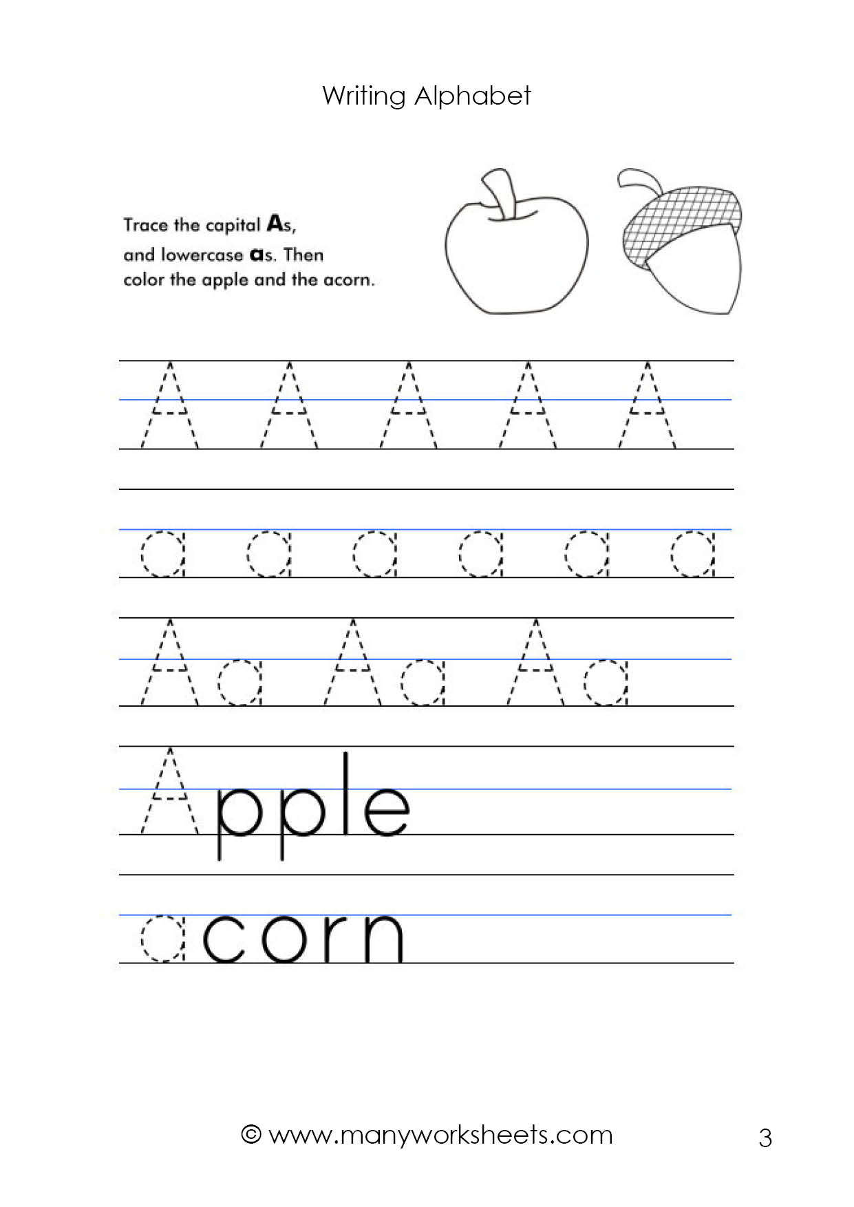 Writing Upper And Lowercase Letters Worksheets