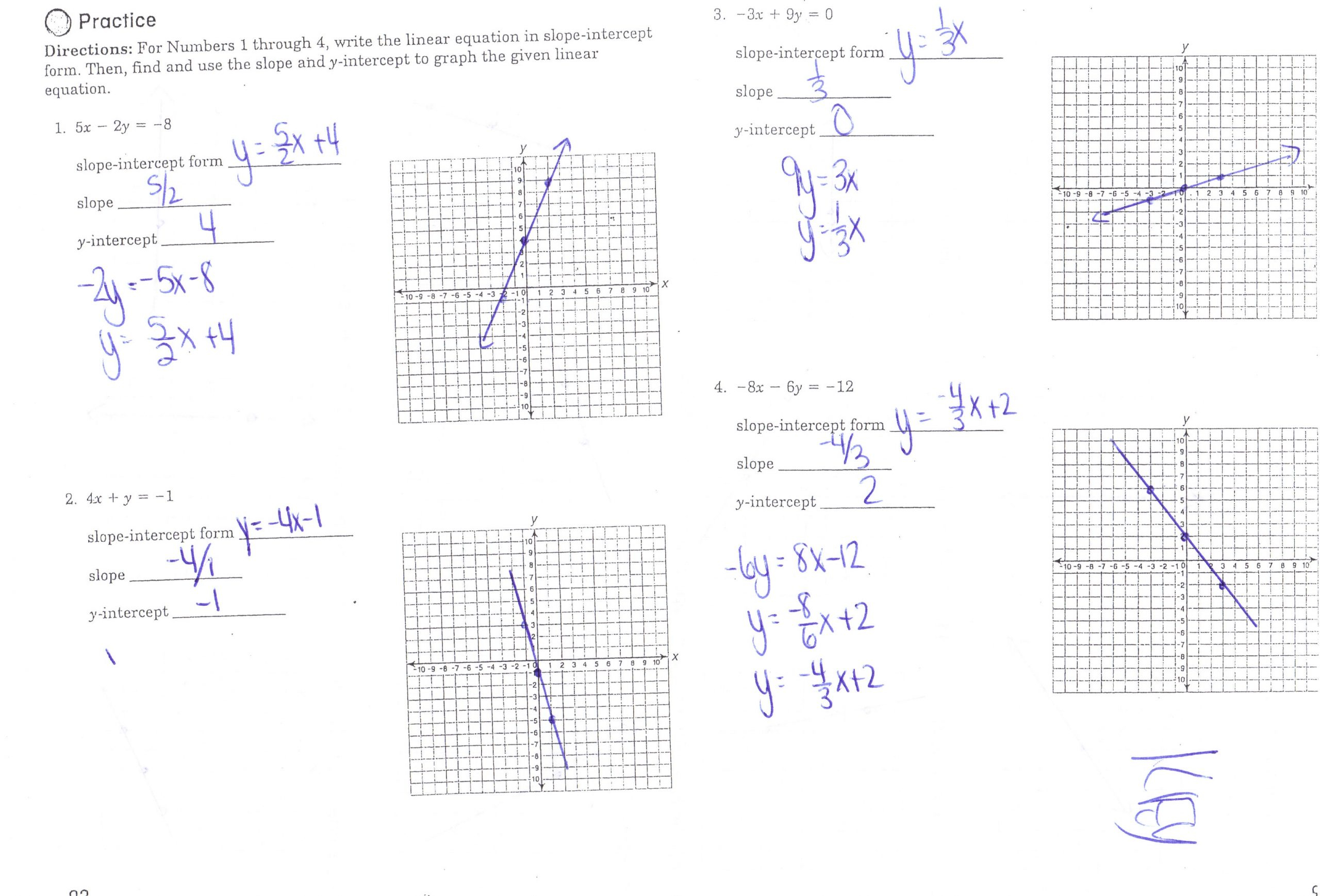 Practice Worksheet Writing Equations Of Lines Answer Key