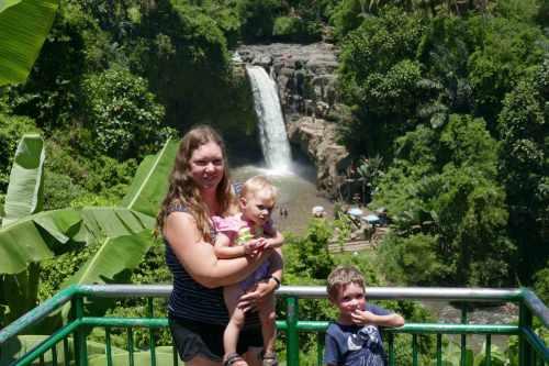 Bali waterfall mum and kids