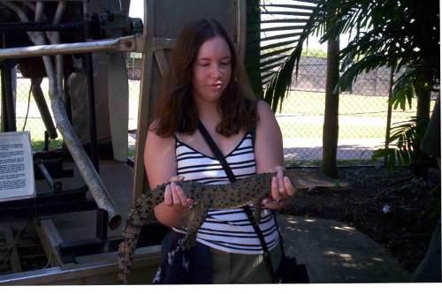 holding a baby crocodile, Crocodylus Park Darwin