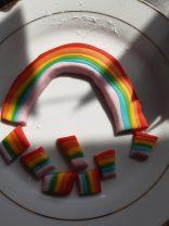 Isaac's rainbows for his mum's birthday cake