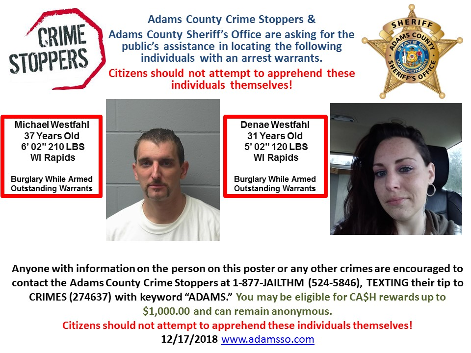 Adams County Looking for Help Locating Criminals « WRJC