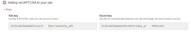 site key and secreate key