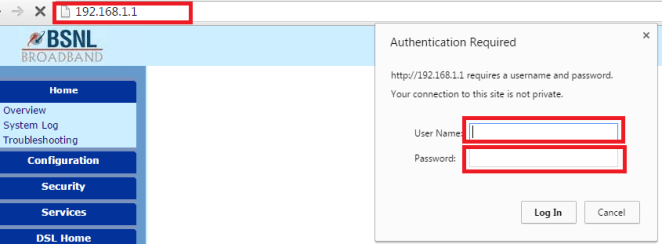 bsnl braodband router pass