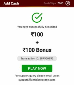 Khel play Rummy Offer