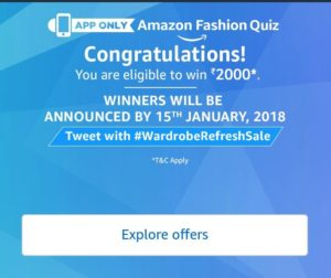 (All Answers) Amazon Fashion Quiz - Answer and Win Rs 2000