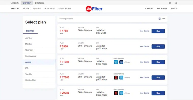 JioFiber Annual, 6-Month Plans Now Come With Extra Validity of Up to 30 Days