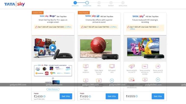 Tata Sky Binge+, Tata Sky+ HD, Tata Sky HD Set-Top Boxes Get Discounts of Up to Rs. 400