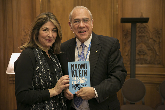 "November 24, 2015: ""Coffees of the Secretary-General"" series, Author Naomi Klein (left) with Angel Gurría OECD Secretary-General, member of the Board of Trustees, World Economic Forum, advisory board member for the Global Green Growth Forum (3GF)"