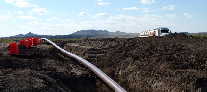 The Sacagawea Pipeline is pictured under construction on Saturday, Aug. 27, 2016, in Mountrail County, N.D., near Lake Sakakawea. Amy Dalrymple/Forum News Service
