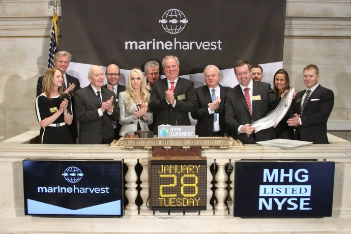 NEW YORK, NY – JANUARY 28: Ole Eirik Lerøy, Chairman, and Alf-Helge Aarskog, Chief Executive Officer of Marine Harvest to ring the opening bell at the New York Stock Exchange on January 28, 2014 in New York City. (Photo by Ben Hider/NYSE Euronext)