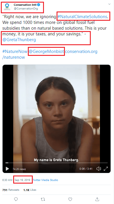September 19, 2019: Conservation International promoting Thunberg-Monbiot film with #NaturalClimateSolutions hashtag