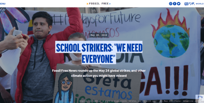 "2019, 350.org: ""School Strikers: 'We Need Everyone'"""