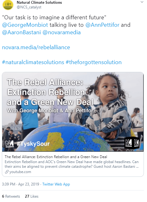 "April 23, 2019, Natural Capital Solutions promoting ""The Forgotten Solution"""