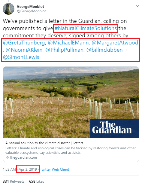 April 3, 2019. The launch of the Natural Climate Solutions project by George Monbiot and The Guardian