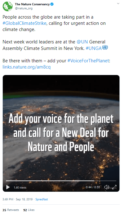 "September 18, 2019: The Nature Conservancy promoting #GlobalClimateStrike in conjunction with the ""New Deal For Nature and People"""