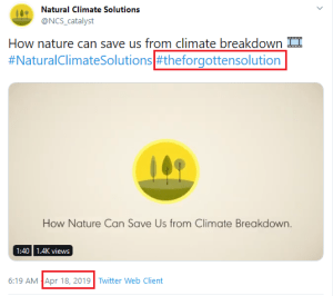 April 18, 2019, Natural Climate Solutions, The Forgotten Solution