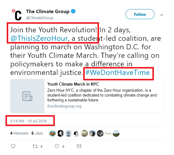 The Climate Group, co-founder of We Mean Business. July 19, 2018, #WeDontHaveTime hashtag, tagged: This Is Zero Hour