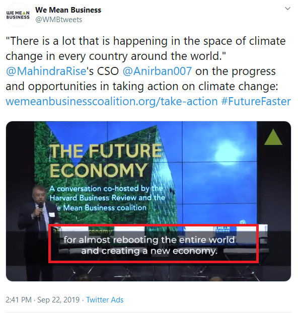 "September 22, 2019: ""Rebooting the entire world and creating a new economy"", We Mean Business Twitter account"