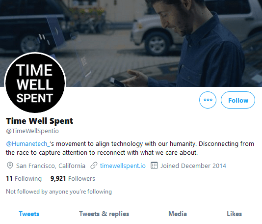 Time Well Spent Twitter account, 2014-2018