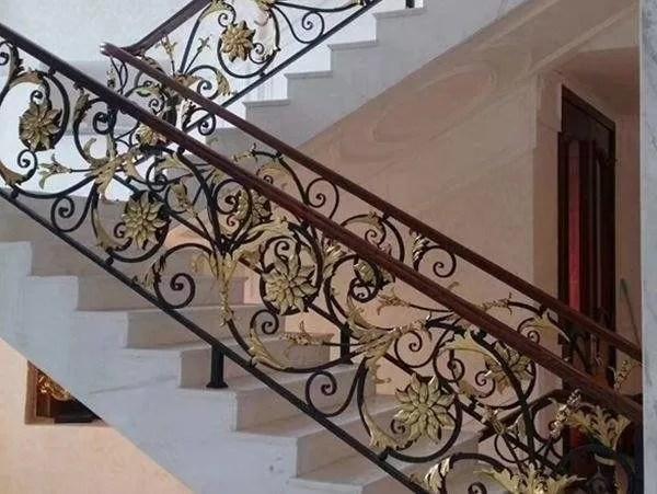 Hot Dipped Galvanized Exterior Wrought Iron Stair Railings Cast | Cast Iron Stair Railing | Residential | Horizontal | Chrome Picket Interior | Custom | Iron Baluster