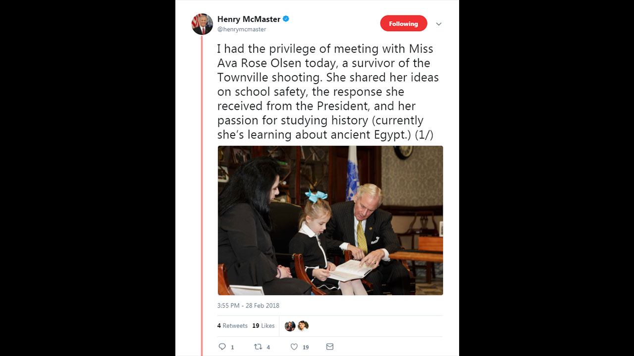 Governor McMaster Tweet Townville