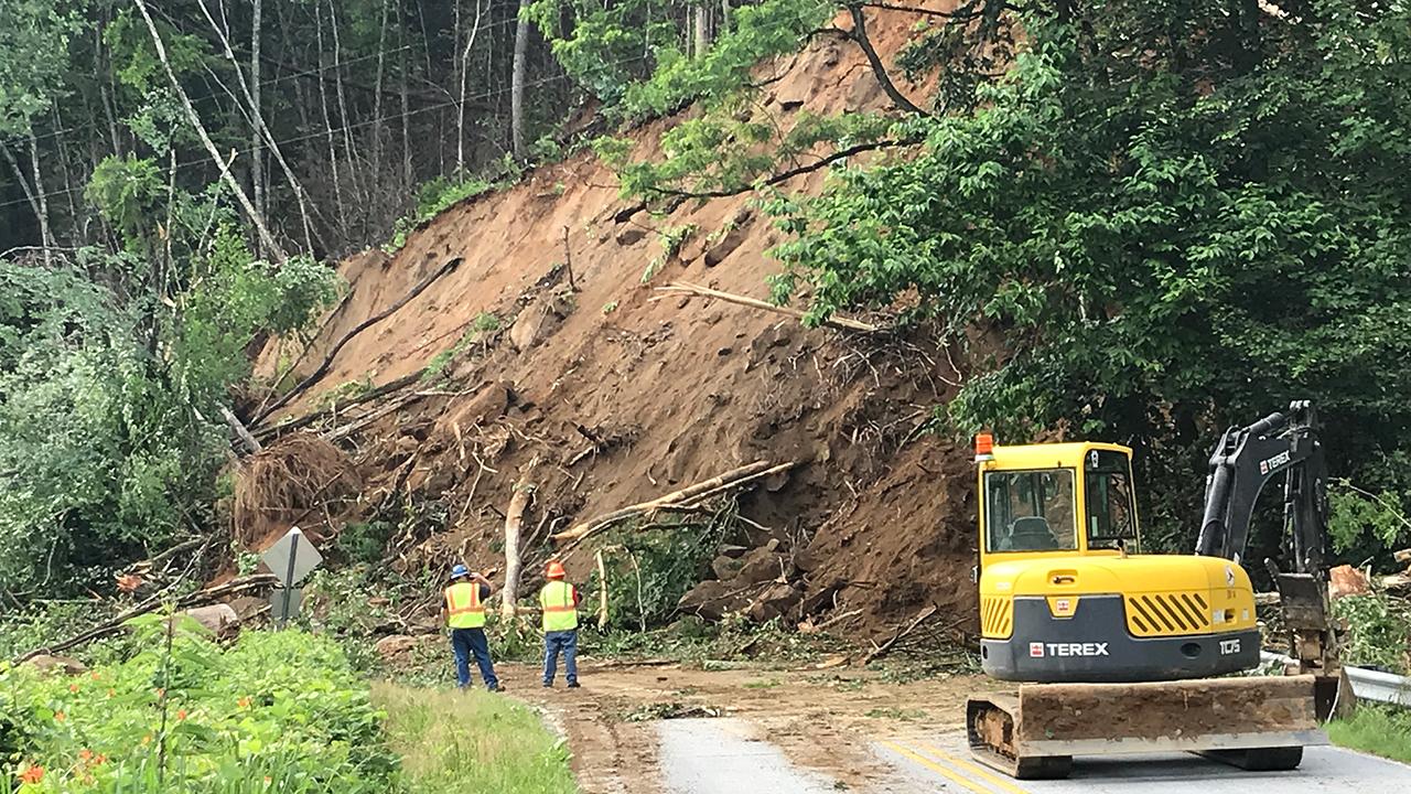 Henderson County landslide Highway 9