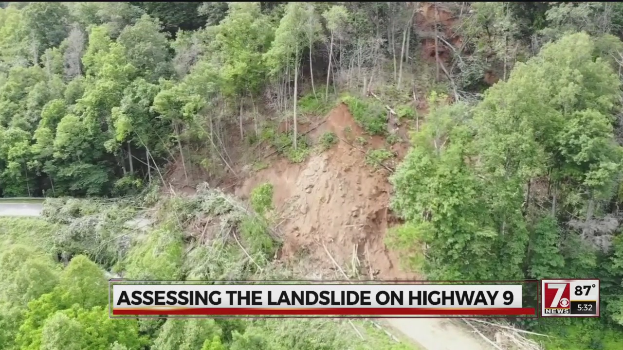 Aerial of landslide in Bat Cave, N.C.
