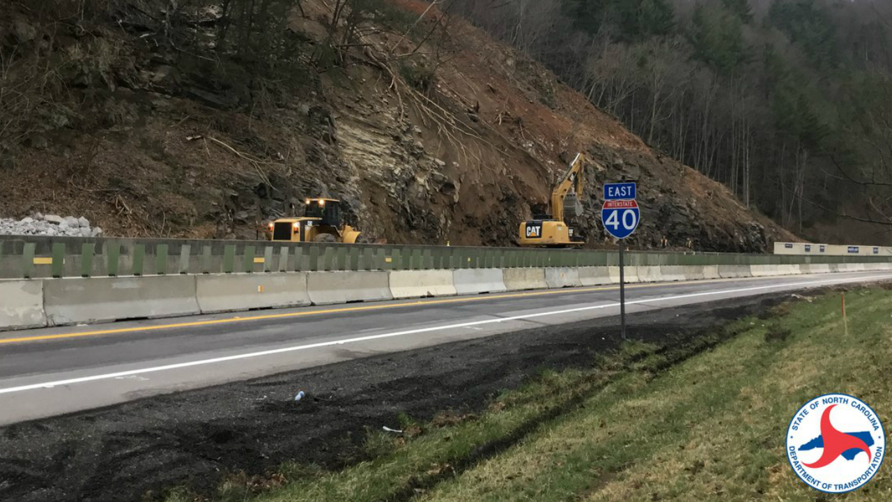 NCDOT reopens 1 lane of I-40 following rock slide near Tennessee