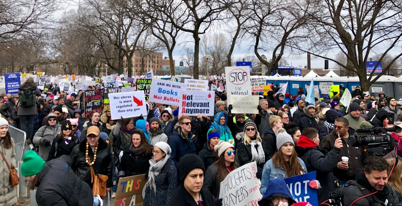 A section of the March for Our Lives protest in Chicago