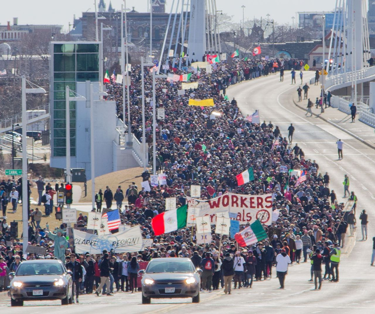 Pro-immigrant worker march in Milwaukee, USA