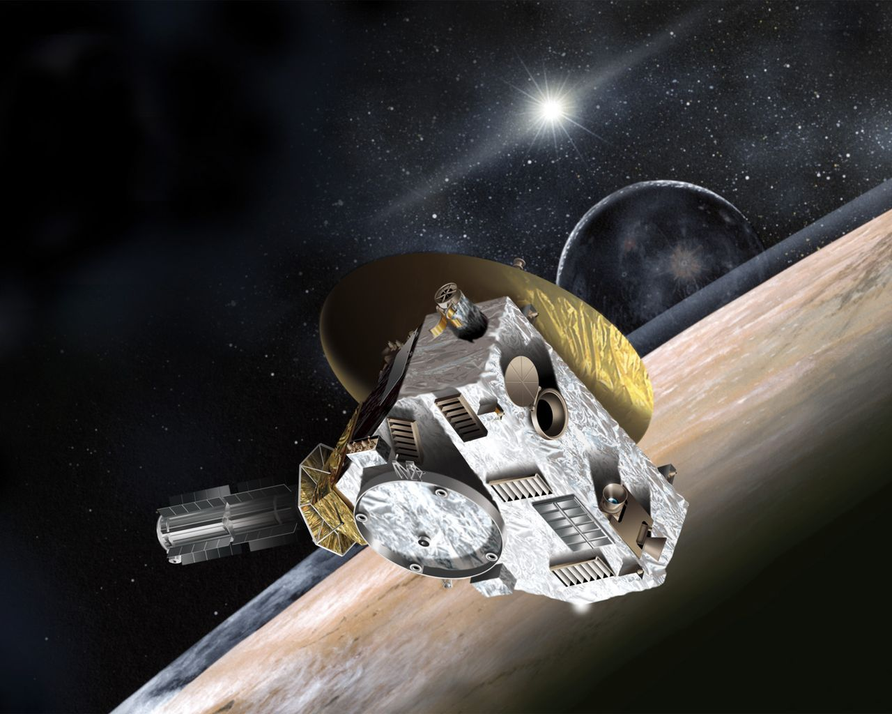 Artist's conception of the New Horizons spacecraft as it encounters Pluto
