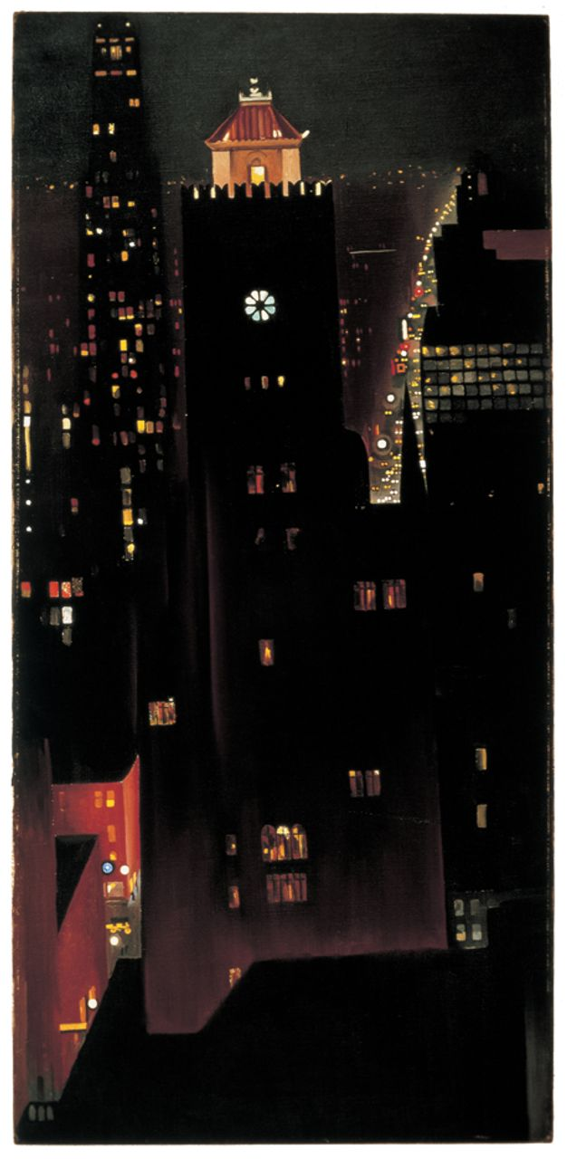 New York, Night, 1928 - 1929 oil paint on canvas Image: 101.9 x 48.7 cm (40 1/8 x 19 3/16 in.) Sheldon Museum of Art, Sheldon Art Association, Thomas C. Woods Memorial