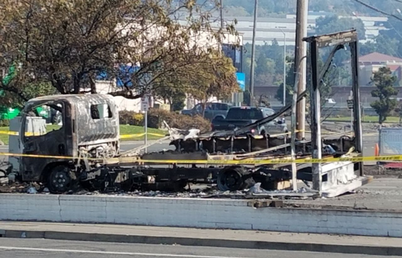 A burned truck in Santa Rosa