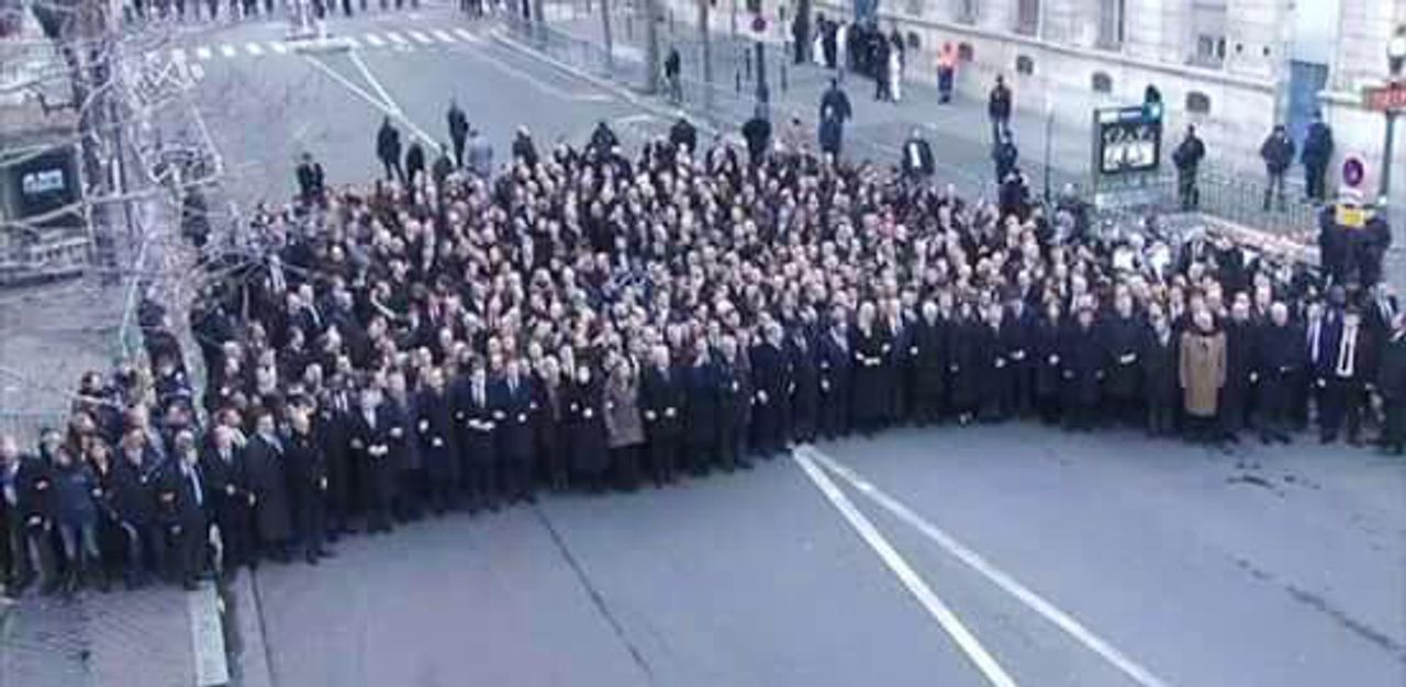 Politicians in Paris, separate from Charlie Hebdo marchers
