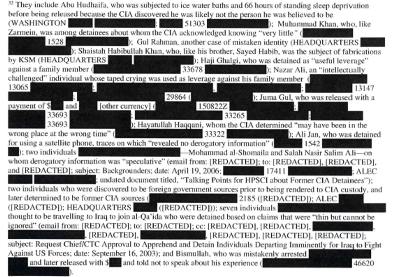 CIA redactions in torture report