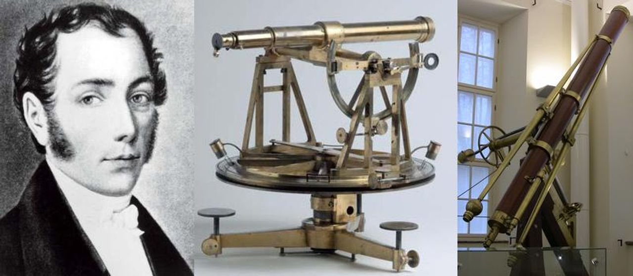 Joseph von Fraunhofer (1787-1826) together with his surveying theodolite and his Tartu refractor of 1824, the first modern telescope