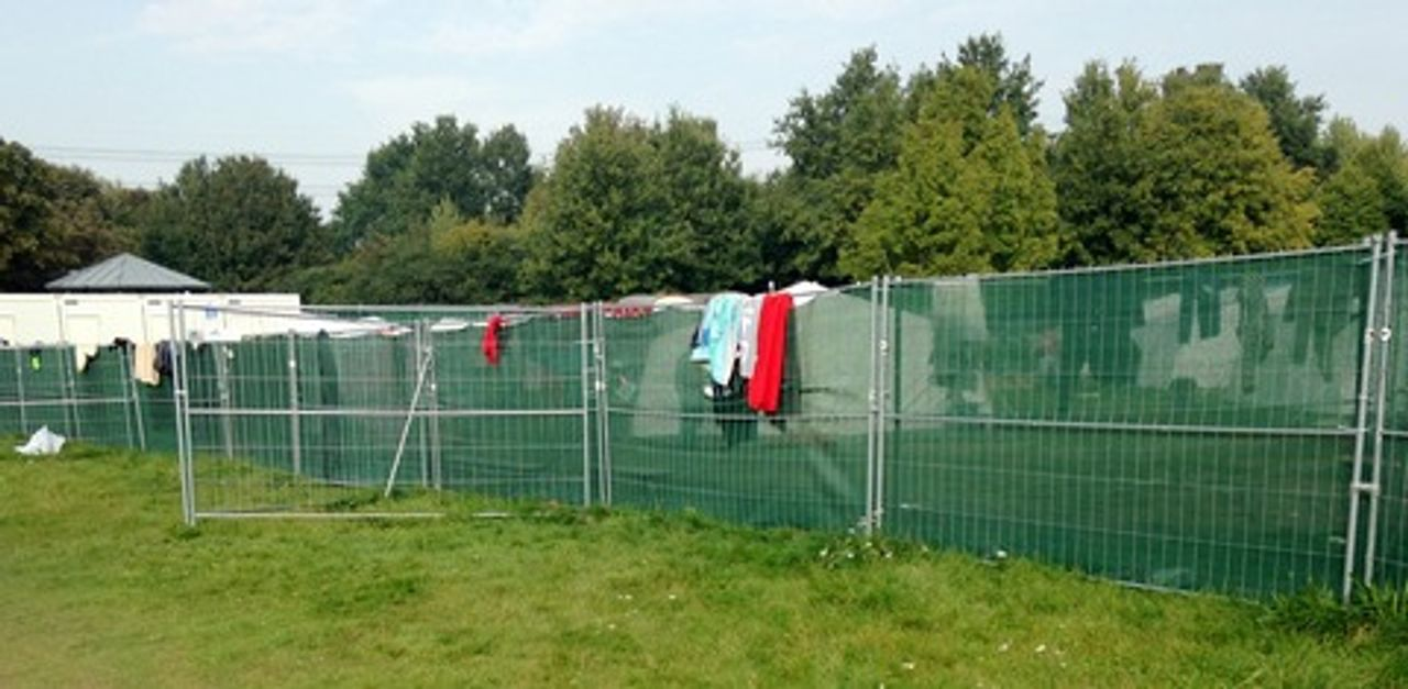 The refugee camp in Jenfeld, Hamburg, Germany