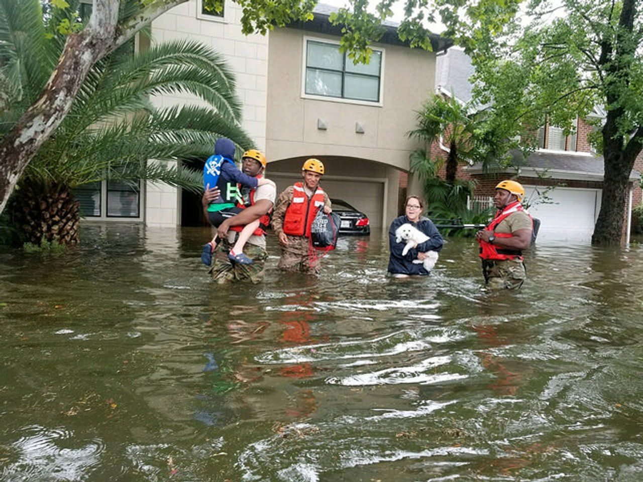 An estimated 17,000 people have been evacuated in the Houstn, USA disaster area. (Photo by Lt. Zachary West, 100th MPAD)