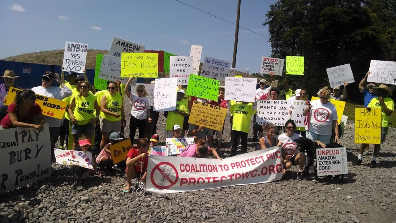 Protesters with the Coalition to Protect Prince William County in Virginia, USA