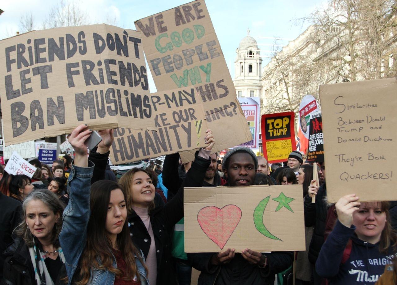London anti-Trump demonstrators