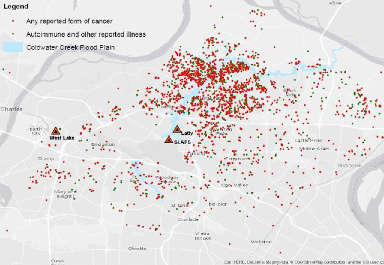 Coldwater Creek illnesses and cancers in north St. Louis County, Missouri. SOURCE: coldwatercreekfacts.com