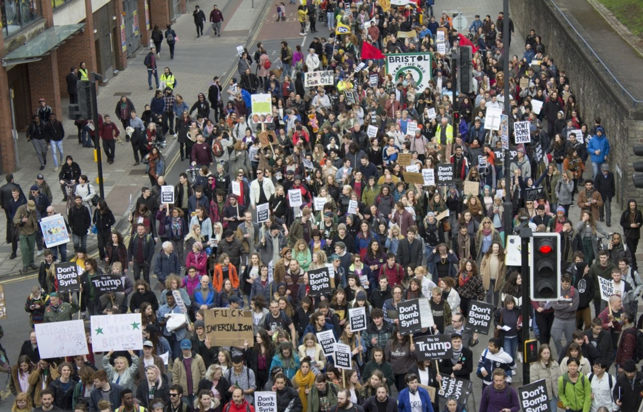 The demonstration in Bristol against the bombing of Syria