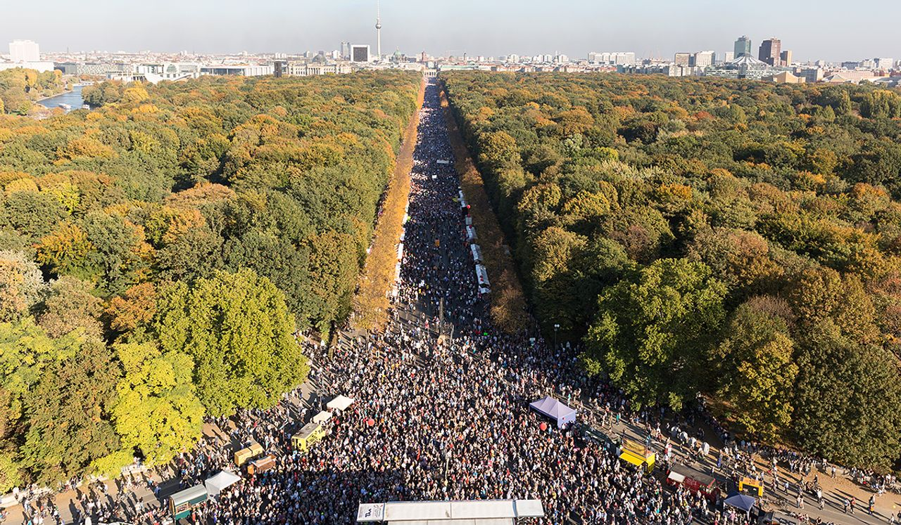 A section of the 250,000 person demonstration